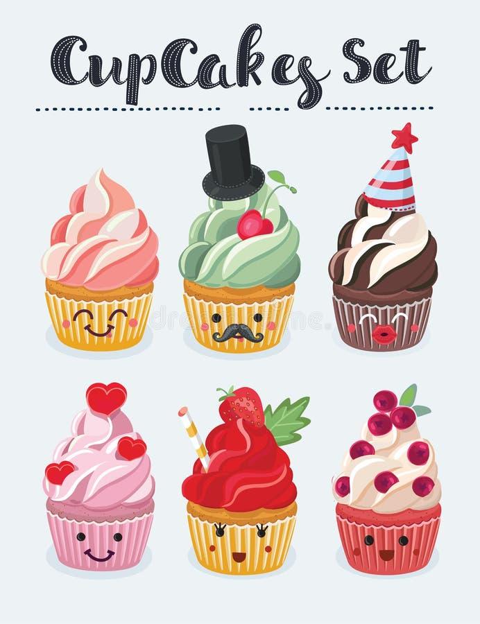 Ensemble d'icônes d'emoji de petit gâteau Visages de sourire de différentes émotions, illustration de vecteur illustration libre de droits