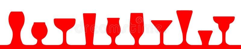 Ensemble d'icônes en verre de barre Verre de vin, tasses, tasses - vecteur illustration libre de droits