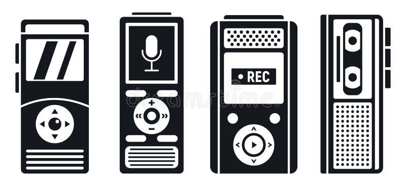 Ensemble d'icônes d'enregistreur de dictaphone, style simple illustration de vecteur