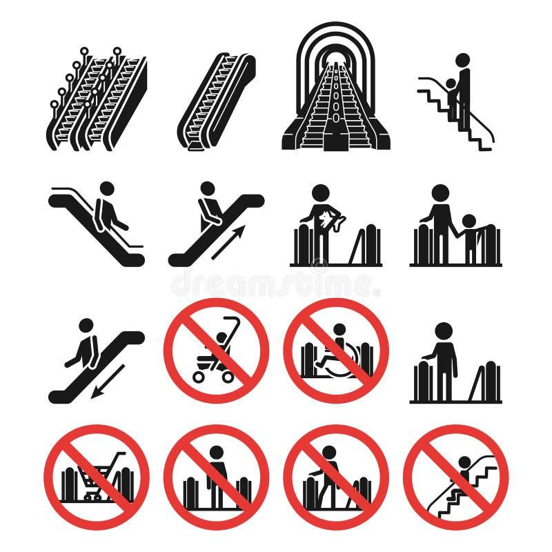 Ensemble d'icônes d'escalator, style simple illustration libre de droits