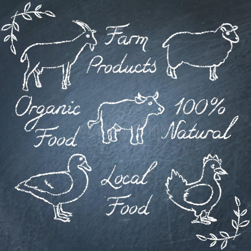 Ensemble d'icônes et de lettrage d'animaux de ferme sur le tableau illustration stock