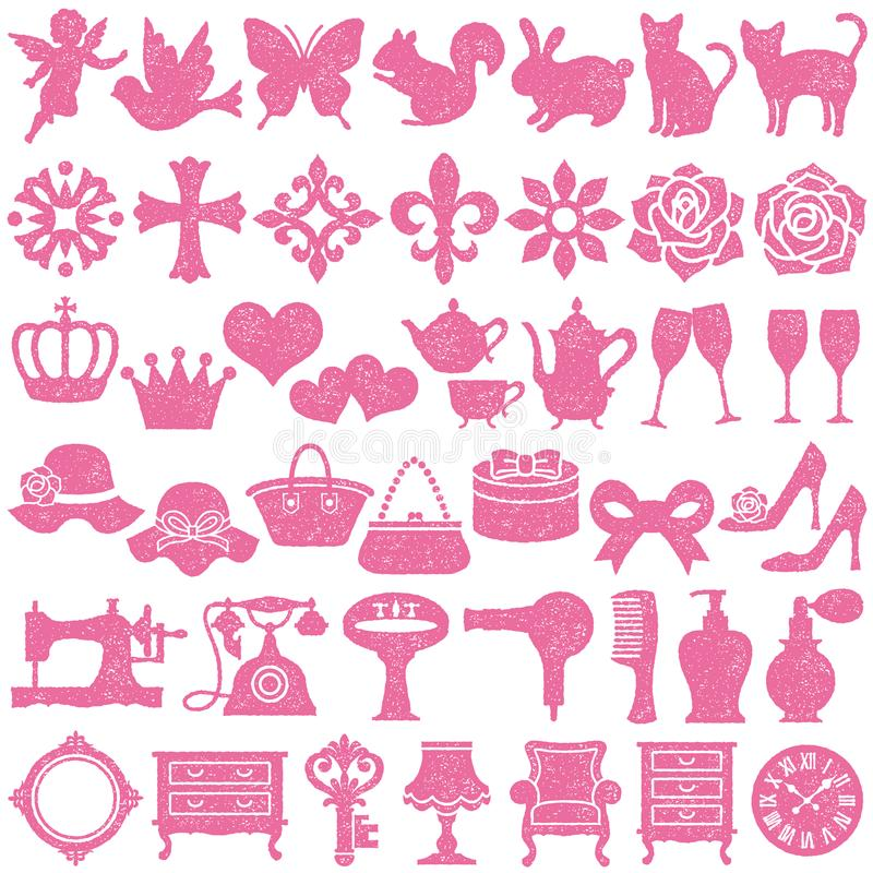 Ensemble d'icônes girly facile éditez l'estampille de positionnement d'image pour diriger illustration libre de droits
