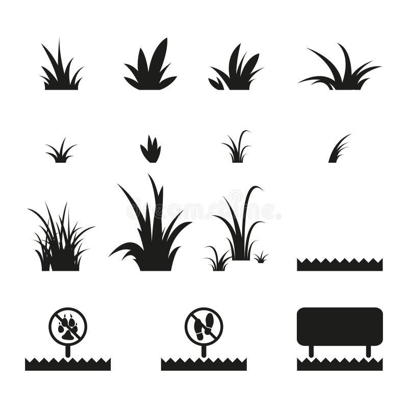 Ensemble d'icônes d'herbe illustration stock