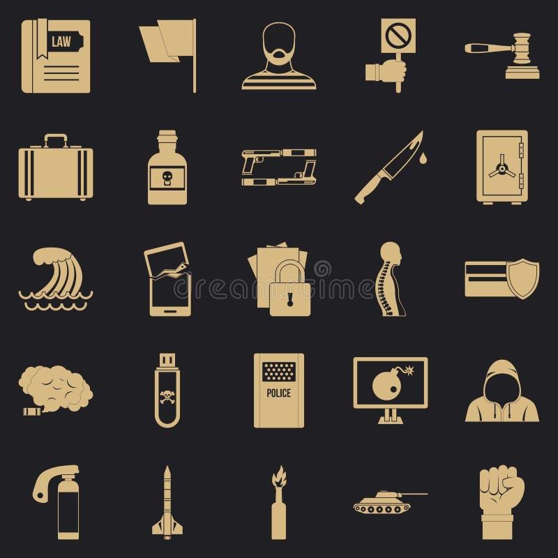Ensemble d'icônes d'infraction, style simple illustration libre de droits