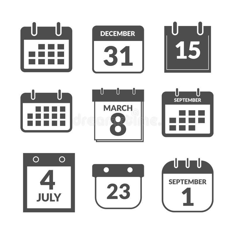 Ensemble d'icônes d'interface utilisateurs de calendrier illustration libre de droits