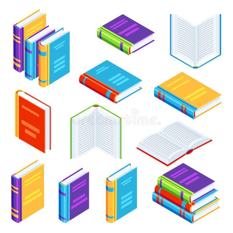 Ensemble d'icônes isométriques de livre illustration libre de droits