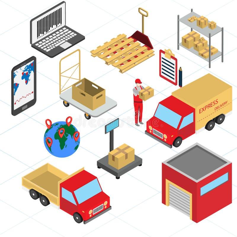 Ensemble d'icônes isométriques de logistique et de livraison illustration de vecteur
