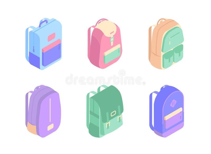 Ensemble d'icônes isométriques de sacs à dos colorés dans l'illustration de vecteur de la conception 3D d'isolement sur le fond b illustration de vecteur