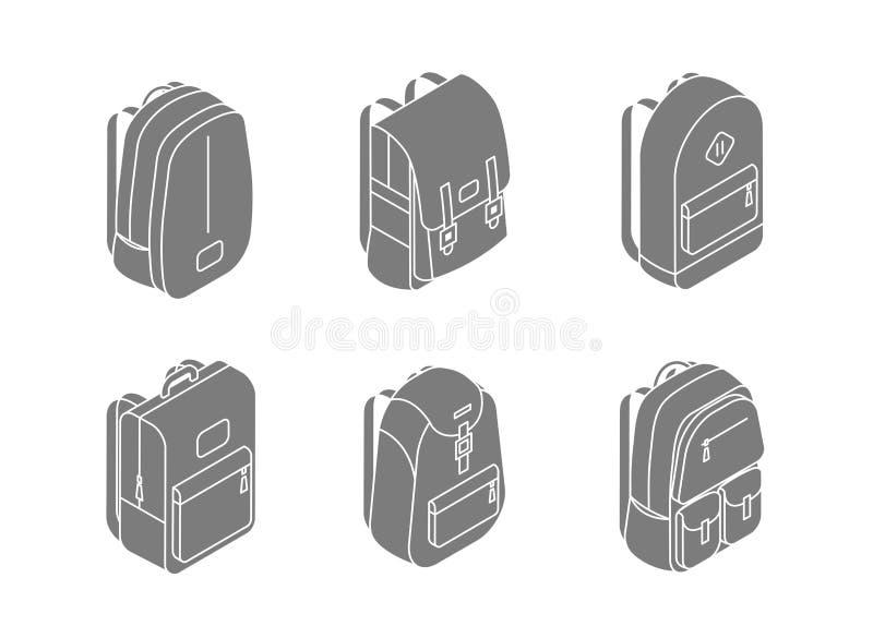 Ensemble d'icônes isométriques de sacs à dos dans l'illustration de vecteur de la conception 3D d'isolement sur le fond blanc De  illustration libre de droits