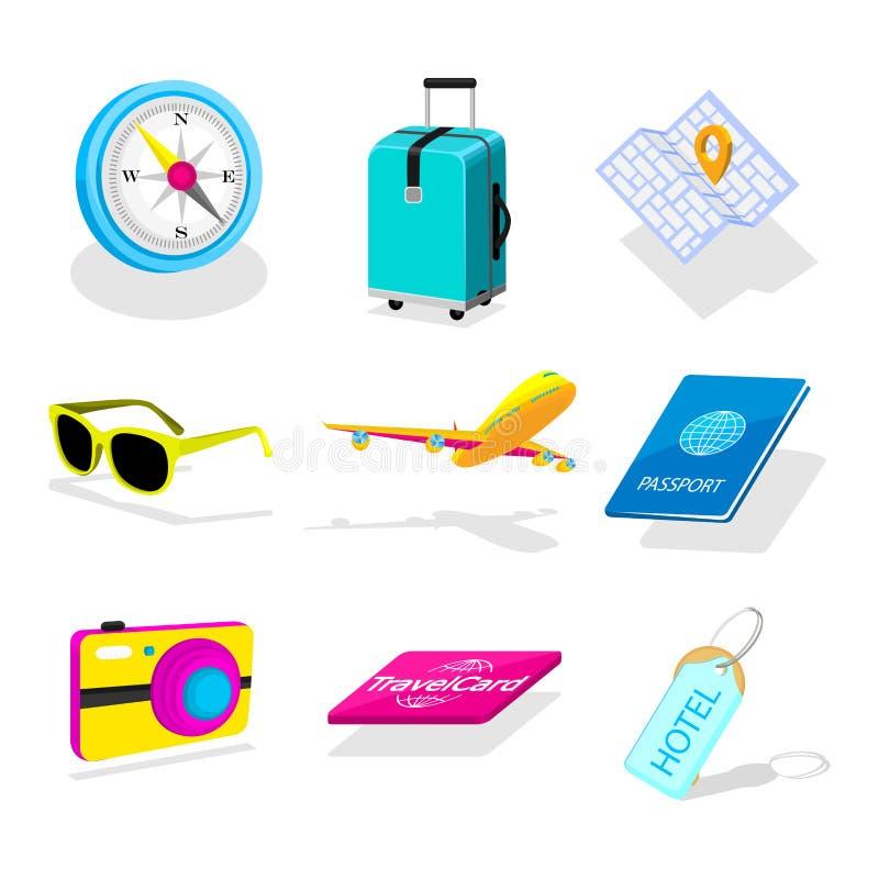 Ensemble d'icônes isométriques de voyage illustration stock