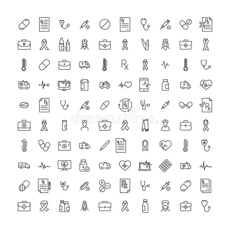 Ensemble d'icônes médicales de la meilleure qualité dans la ligne style illustration libre de droits