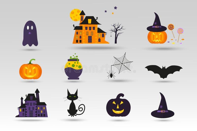 Ensemble d'icônes mignonnes de Halloween de vecteur illustration stock