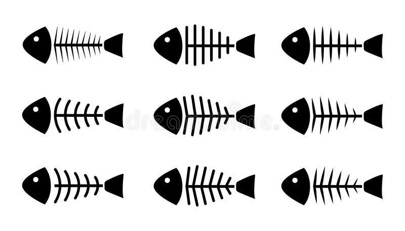 Ensemble d'icônes d'os de poissons, vecteur illustration libre de droits