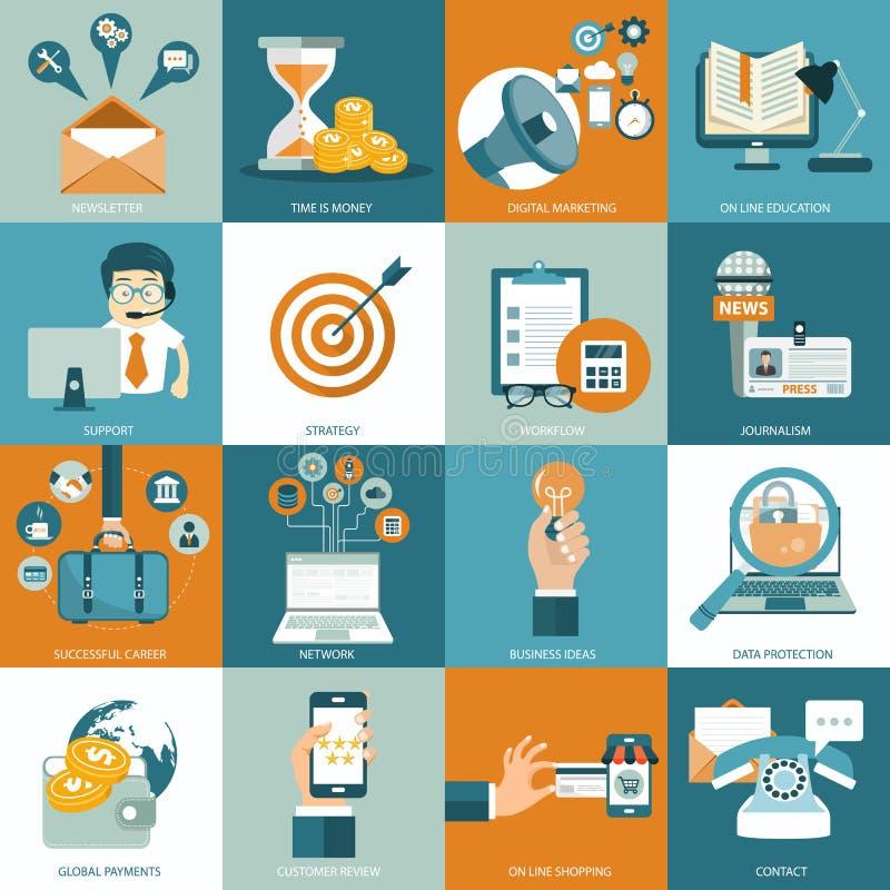 Ensemble d'icônes plates de conception pour les affaires, salaire par clic, processus créatif, recherchant, analyse de Web, dérou illustration de vecteur