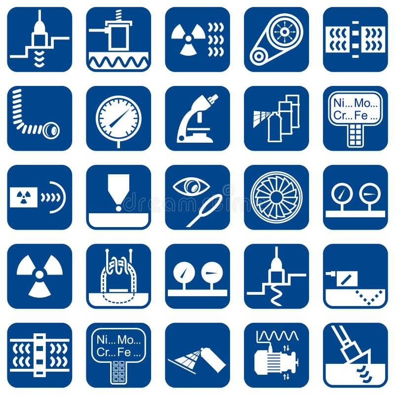 Ensemble d'icônes plates de conception de vecteur des méthodes de NDT illustration libre de droits