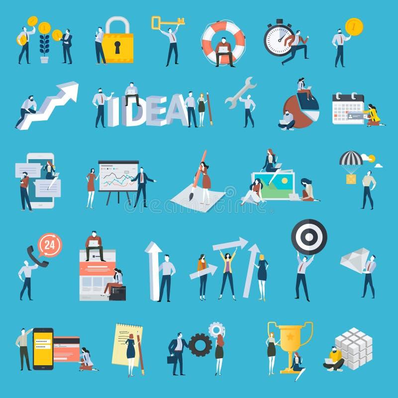Ensemble d'icônes plates de personnes de style de conception illustration stock