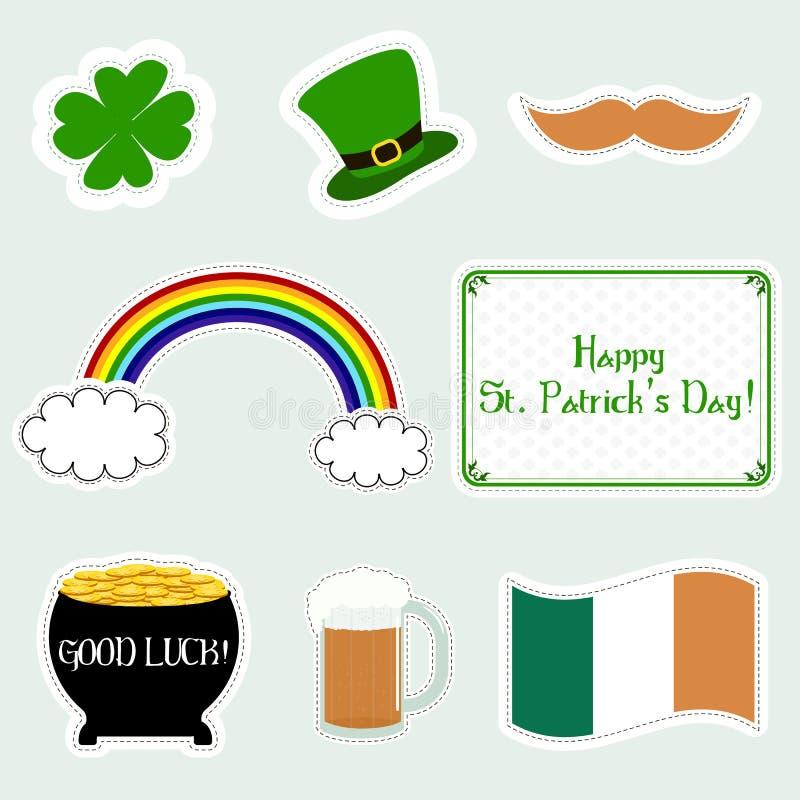 Ensemble d'icônes plates de St Patrick de jour heureux du ` s Illustration de vecteur Symboles de jour du ` s de Patrick illustration de vecteur