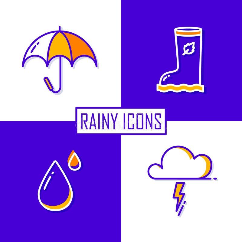 Ensemble d'icônes pour la saison des pluies : parapluie, nuage, baisse et botte en caoutchouc Ligne mince conception plate Vecteu illustration de vecteur