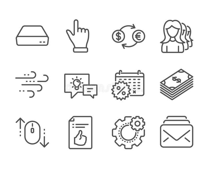 Ensemble d'icônes professionnelles, telles que les remises sur le calendrier, le défilement vers le bas, le cogwheel Vecteur illustration stock