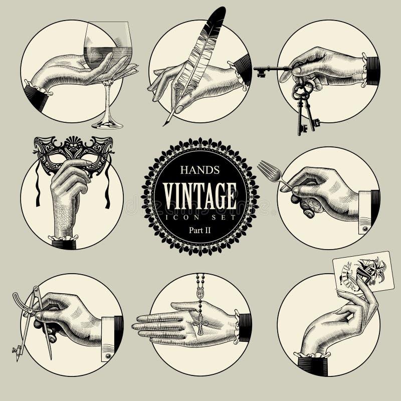 Ensemble d'icônes rondes dans le style de gravure de vintage avec des mains et le CRNA illustration libre de droits