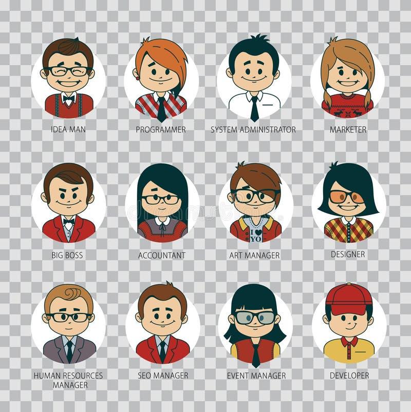 Ensemble d'icônes rondes de personnes votre équipe de bureau Collection de professions à la société informatique Industrie inform illustration libre de droits