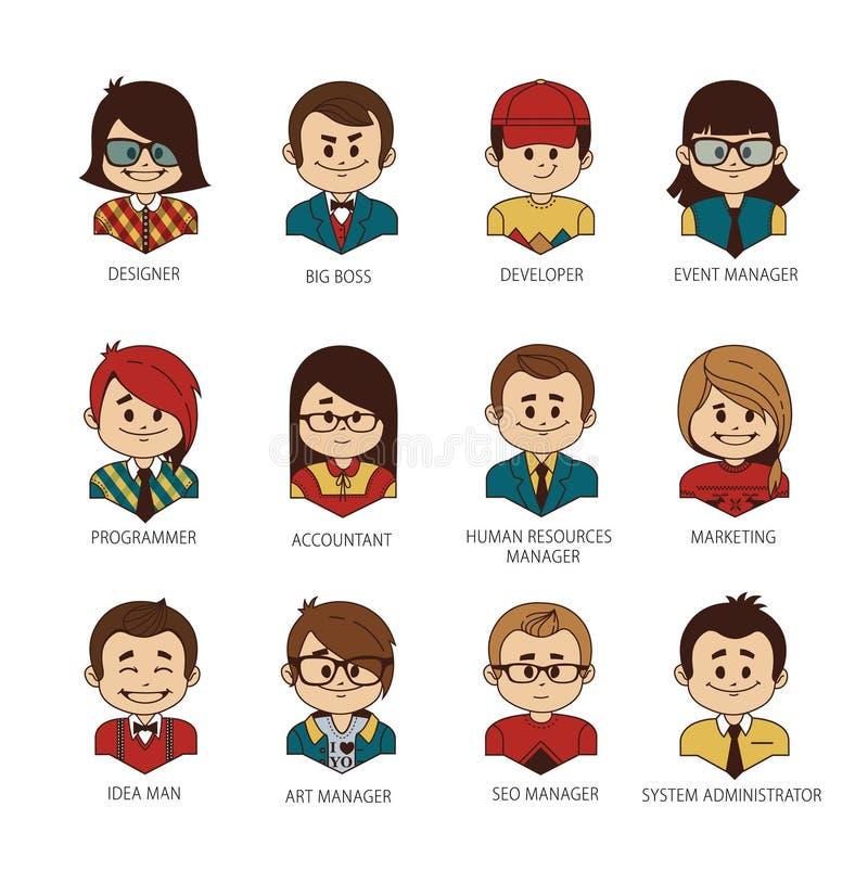 Ensemble d'icônes rondes de personnes votre équipe de bureau Homme, femme, garçon, fille sur le fond blanc Professions à la socié illustration libre de droits