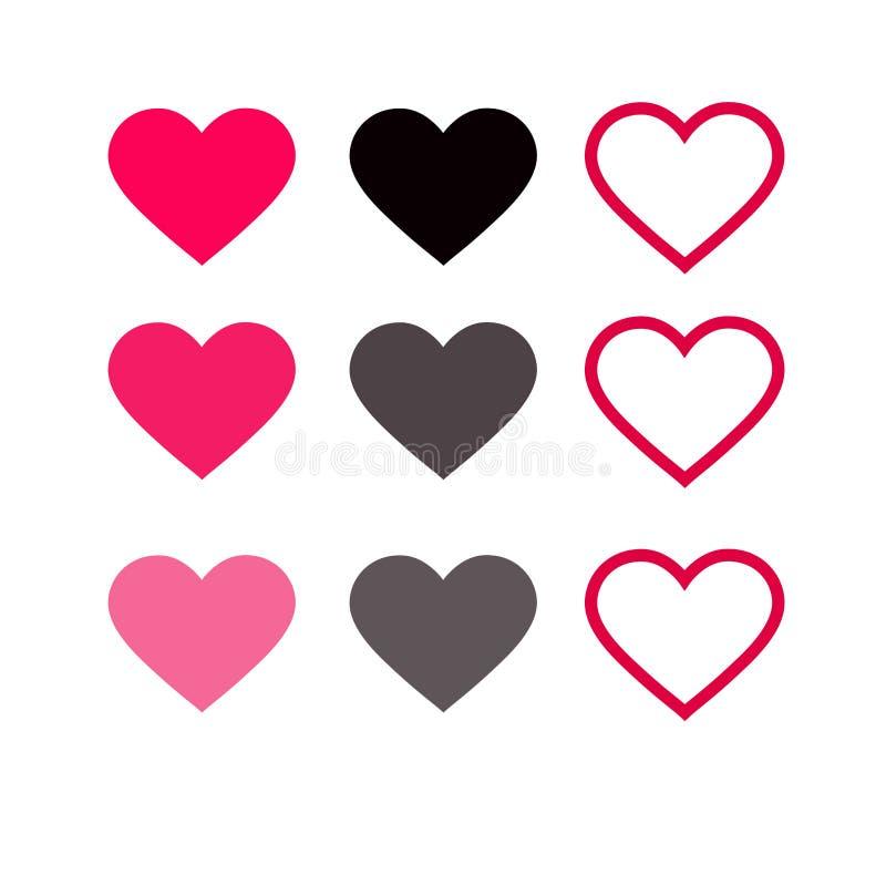 Ensemble d'icônes rouges de coeurs Illustration de vecteur illustration de vecteur