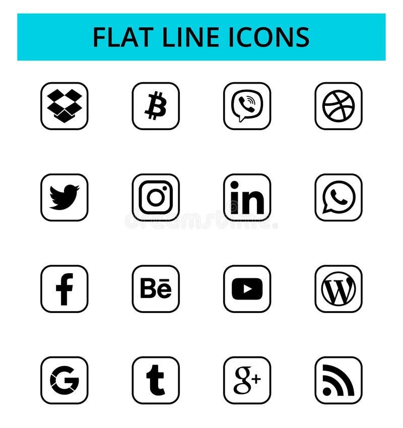 Ensemble d'icônes sociales populaires de media illustration de vecteur