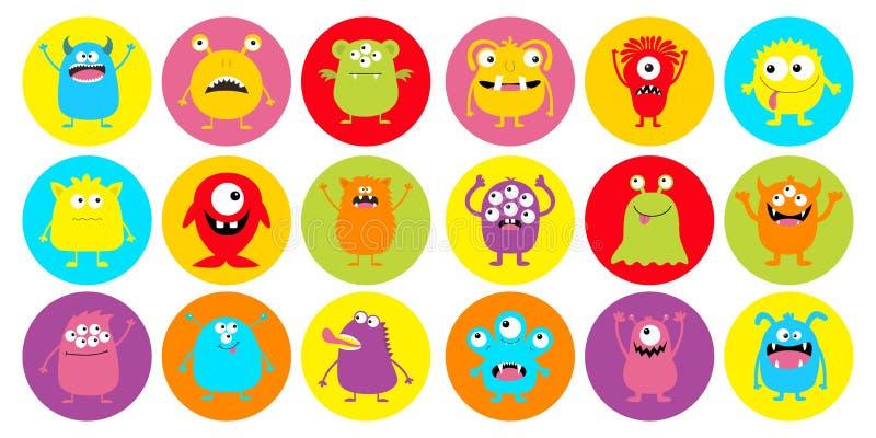 Ensemble d'icônes super grand rond de tête de monstre Joyeux Halloween Boo Spooky Scandant Sourire triste émotion face Trois yeux illustration de vecteur