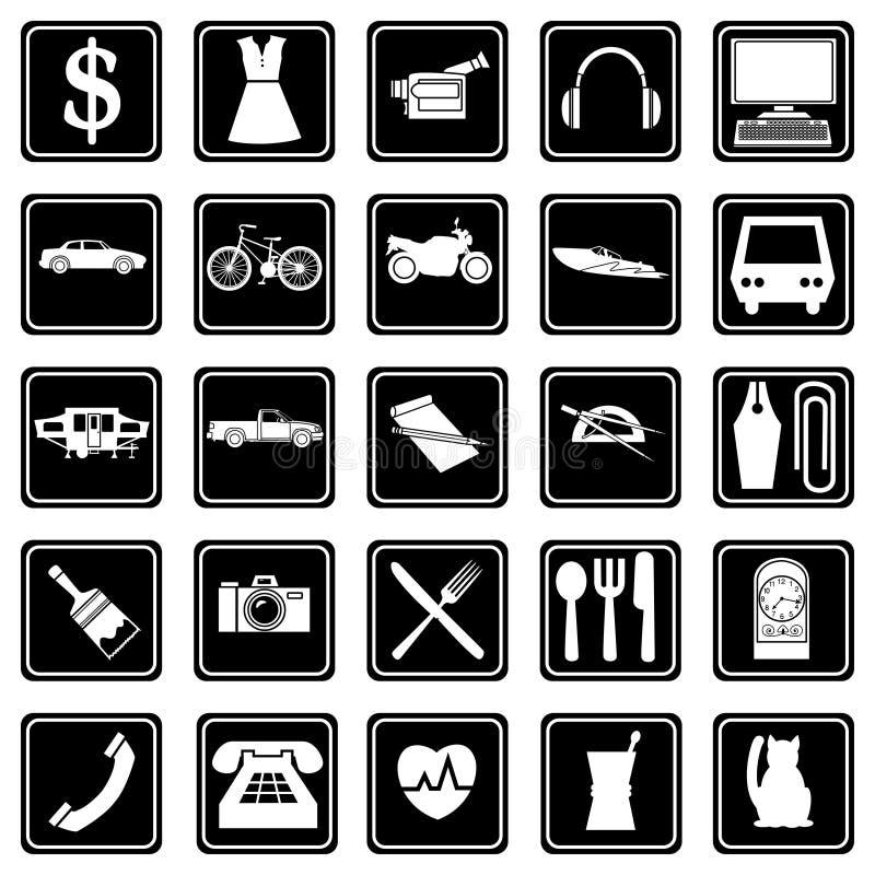 ensemble d'icônes sur le thème de la vente et des services vêtements, équipement audio, ordinateurs, restaurants, voitures, camio illustration libre de droits