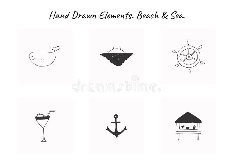 Ensemble d'icônes tirées par la main de vecteur Éléments d'isolement simples pour le logo marin illustration libre de droits