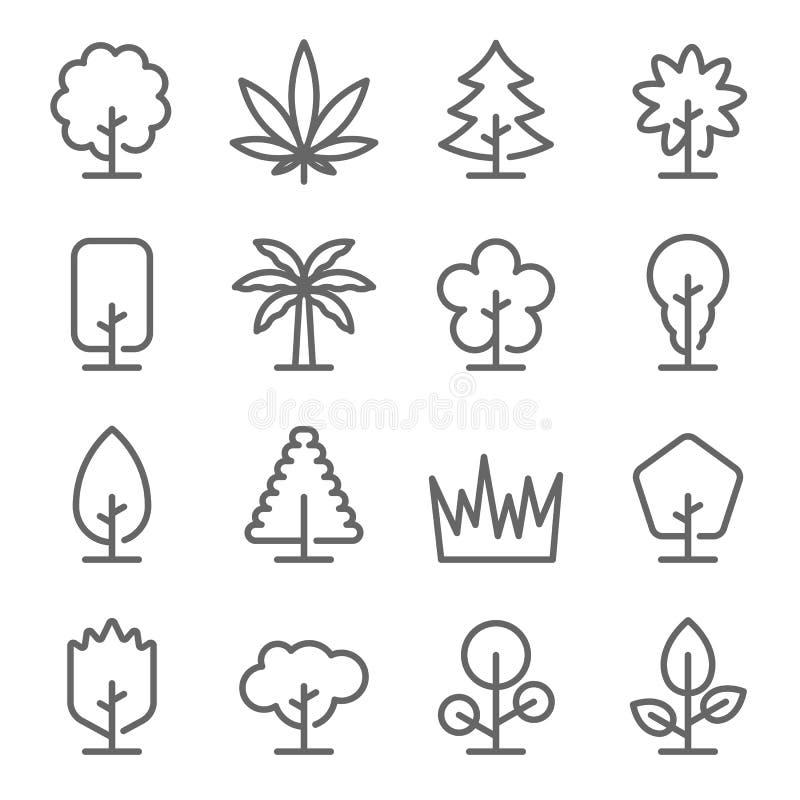 Ensemble d'ic?ne d'arbre Contient des icônes telles que l'herbe, marijuana, paume, noix de coco et plus Course augment?e illustration stock