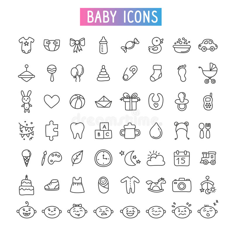 Ensemble d'icône Bébé, jouets et émotions photos stock