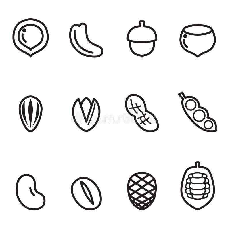 Ensemble d'icône d'écrou illustration stock