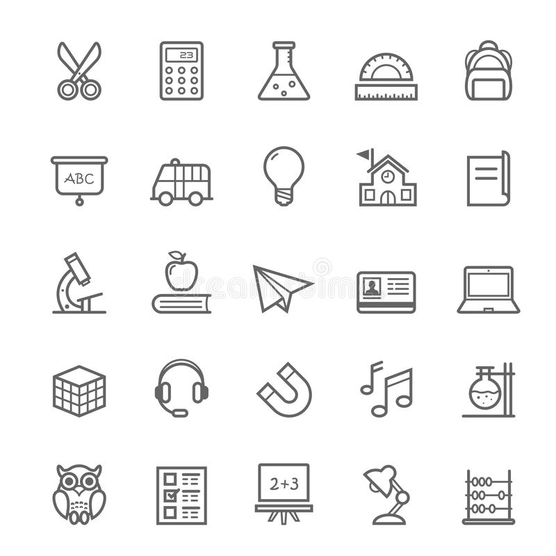 Ensemble d'icône d'éducation de course d'ensemble illustration de vecteur