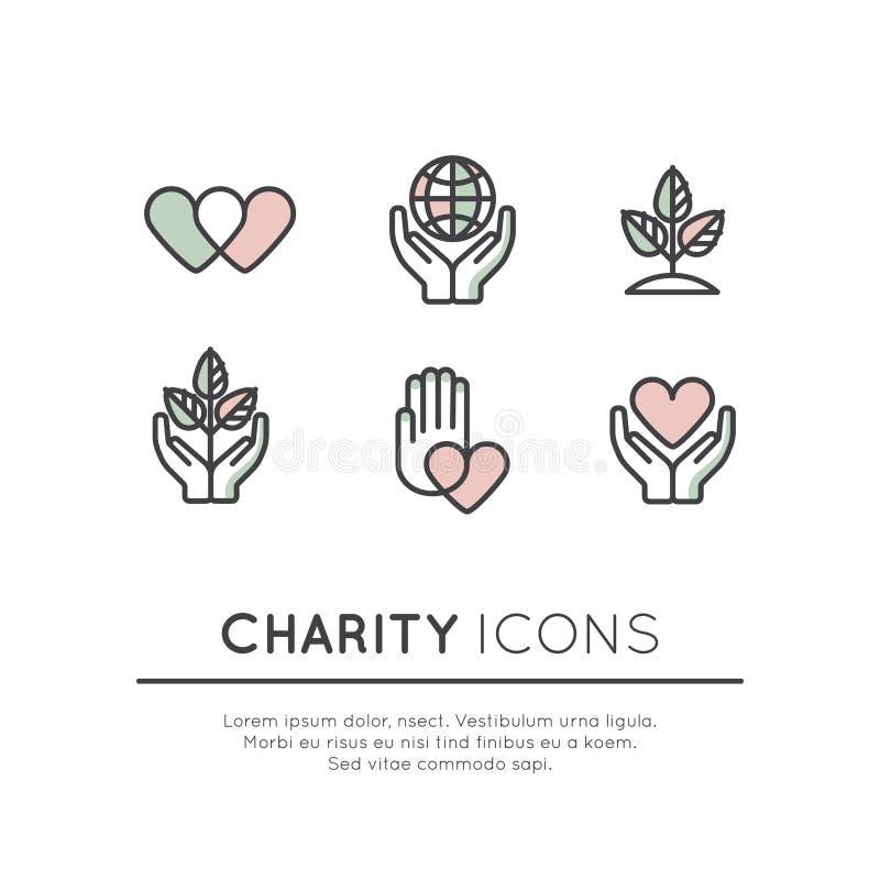 Ensemble d'icône d'éléments graphiques pour les organisations à but non lucratif et le centre de donation illustration libre de droits