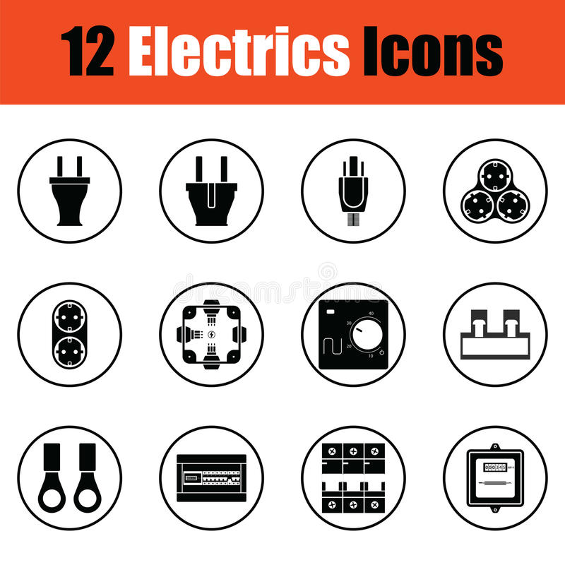 Ensemble d'icône d'électricités illustration stock