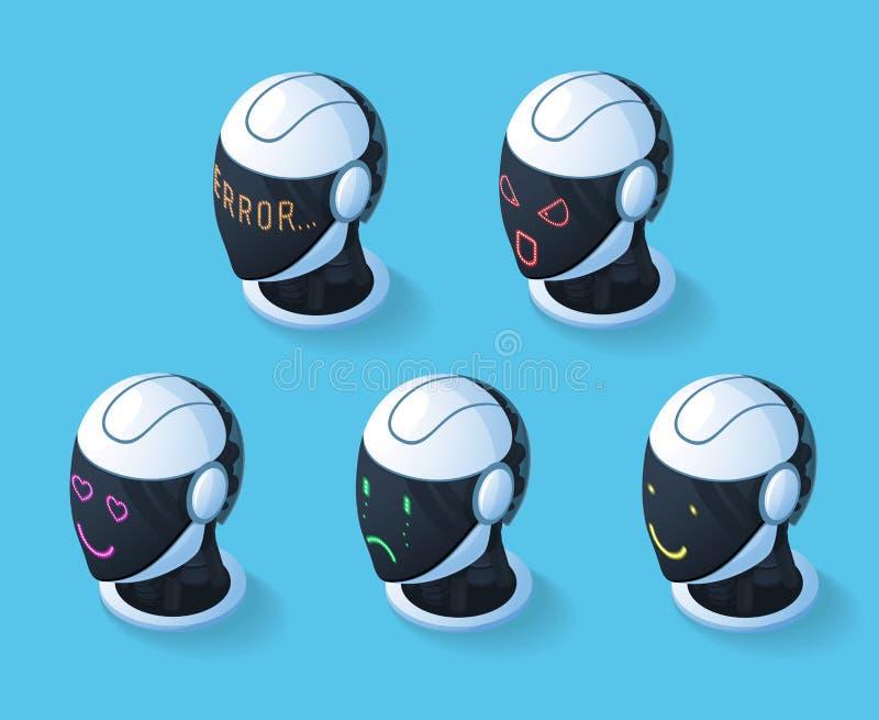 Ensemble d'icône d'émotions de Droid illustration libre de droits