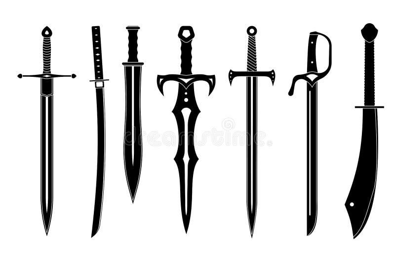 Ensemble d'icône d'épées antiques illustration de vecteur