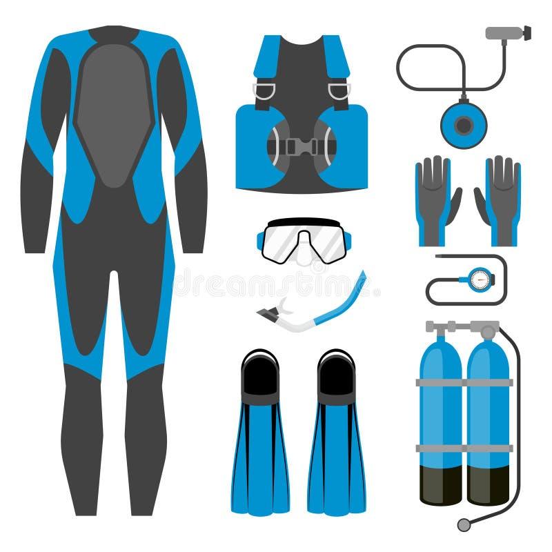 Ensemble d'icône d'équipement de plongée Article sous-marin de sports d'activité de Wetsuit, d'équipement de plongée et d'accesso illustration libre de droits