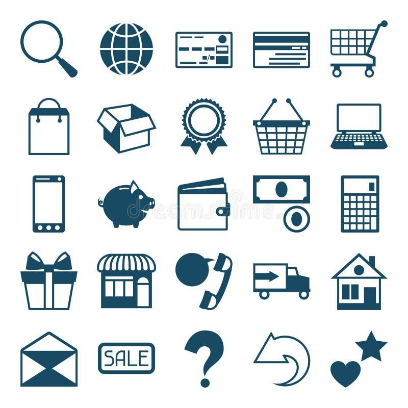 Ensemble d'icône d'achats d'Internet dans le style plat de conception illustration de vecteur