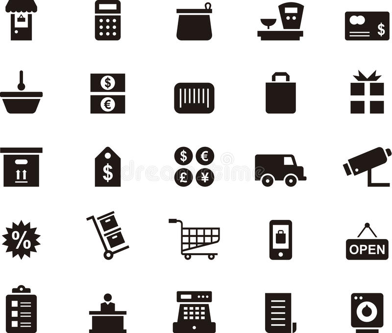 Ensemble d'icône d'achats et de commerce illustration stock