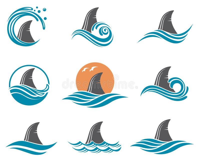 Ensemble d'icône d'aileron de requin illustration de vecteur