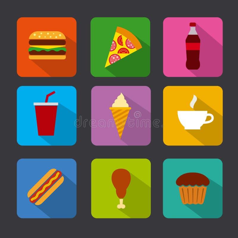 Ensemble d'icône d'aliments de préparation rapide illustration libre de droits