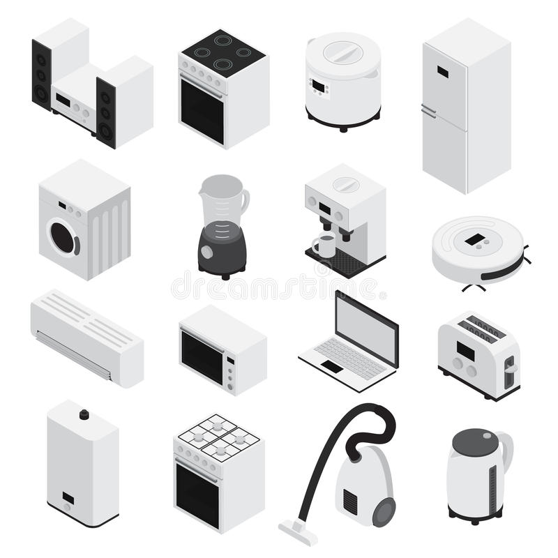 Download Ensemble D'icône D'appareils Ménagers D'Isometrics Illustration de Vecteur - Illustration du infrastructure, internet: 77157959