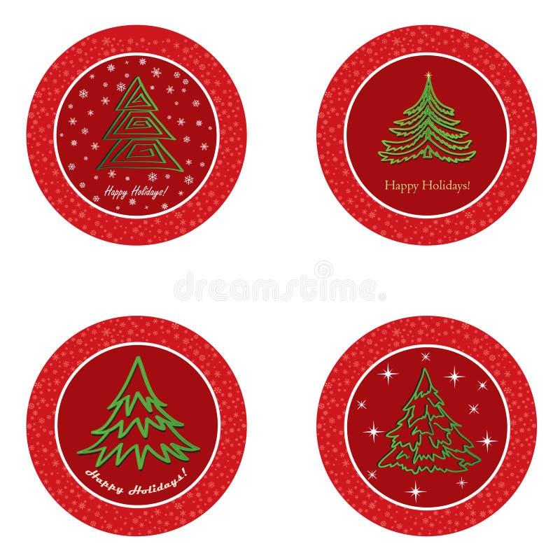 Ensemble d'icône d'arbre de sapin de Noël. Décor de vacances de nouvelle année d'hiver   collection. illustration stock