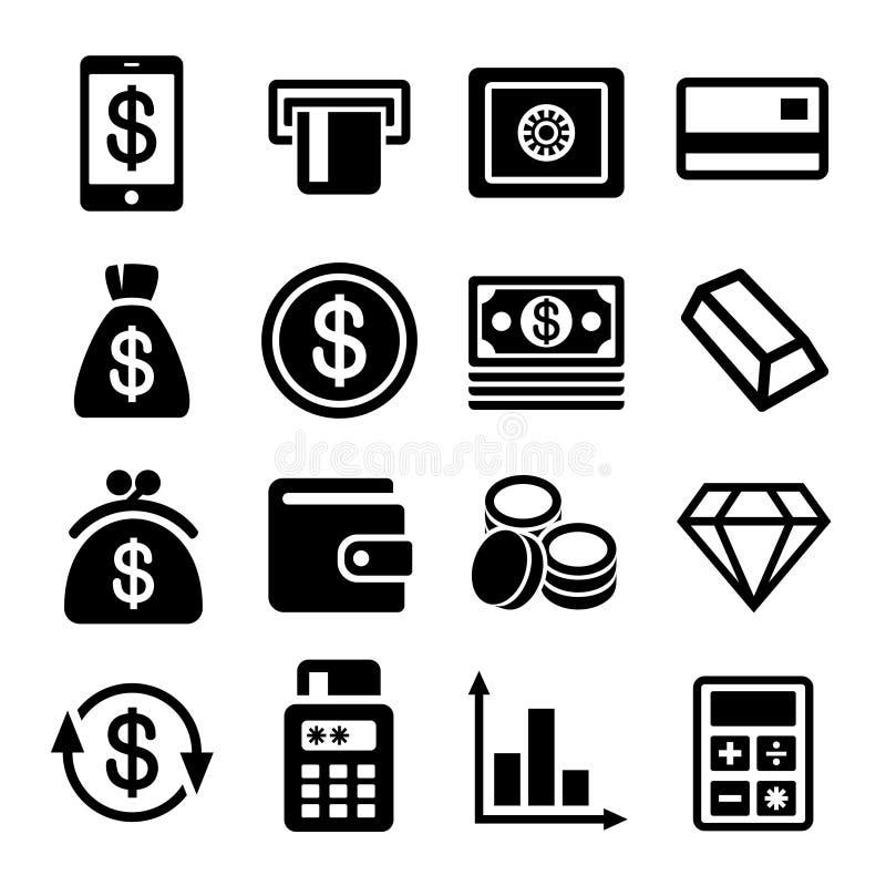 Ensemble d'icône d'argent et de banque illustration libre de droits