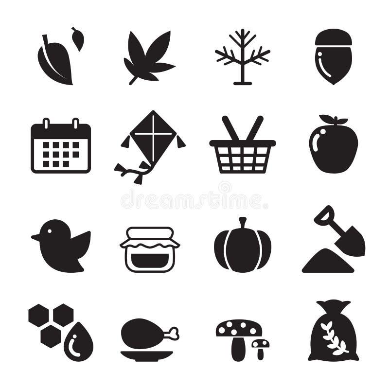 Ensemble d'icône d'automne illustration stock