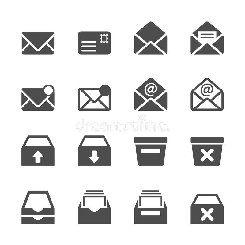 Ensemble d'icône d'email et de boîte aux lettres, vecteur eps10 illustration stock