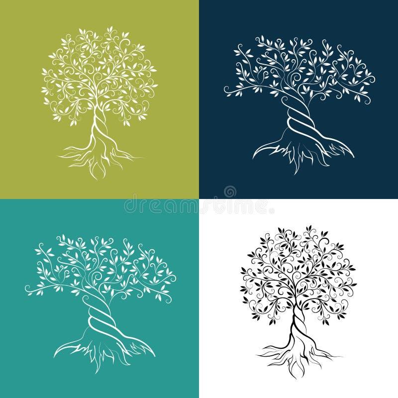 Ensemble d'icône d'ensemble d'oliviers illustration stock